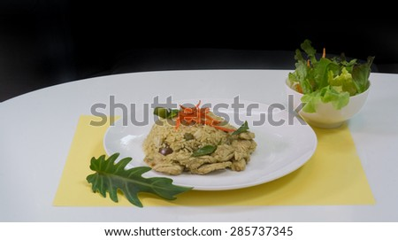 Chicken green curry fried rice on dish,Fried rice with green curry, Thai Food