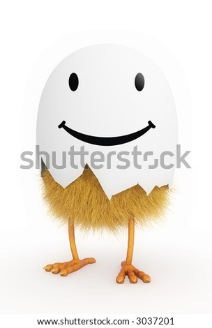 chicken in shell - smile edition. - stock photo