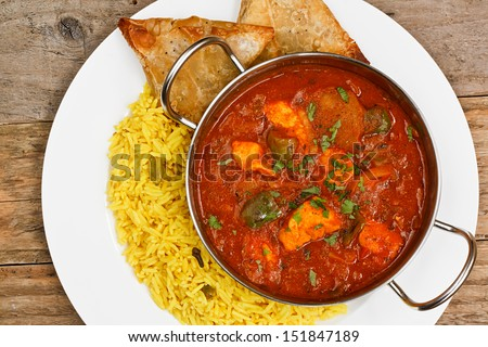 chicken jalfrezi a popular eastern curry sauce dish from india - stock photo