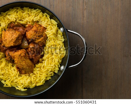 Chicken Jalfrezi Curry Served With Pilau Rice