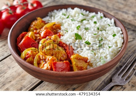 Chicken jalfrezi healthy traditional indian curry stock photo chicken jalfrezi healthy traditional indian curry spicy fried meat with vegetables and basmati rice food in forumfinder Choice Image