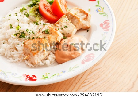 chicken kebab with rice