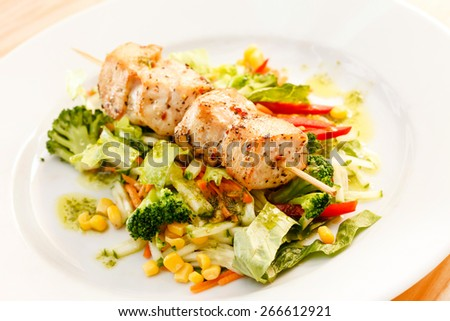 chicken kebab with vegetables - stock photo