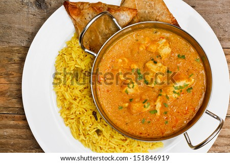 Chicken Korma a popular indian curry dish and favourite with people not keen on spicy food - stock photo