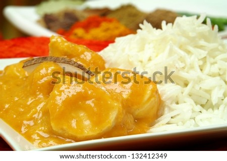 chicken korma with basmatti rice - stock photo