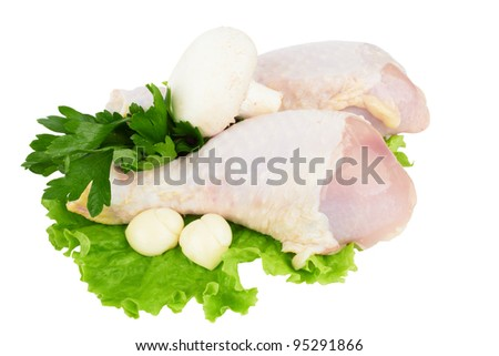 Chicken leg isolated on white - stock photo