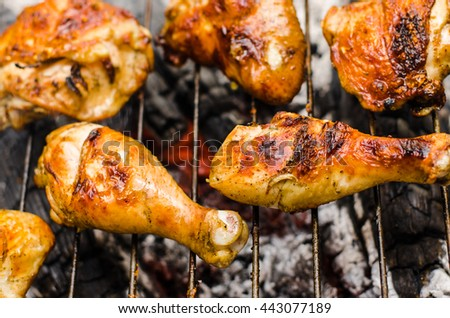 Chicken legs and wings, fried on the grill - stock photo