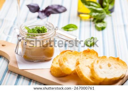 Chicken liver pate and bread - stock photo