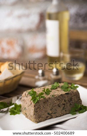 Chicken liver terrine with wine