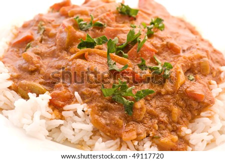 Chicken Madras with Rice - stock photo
