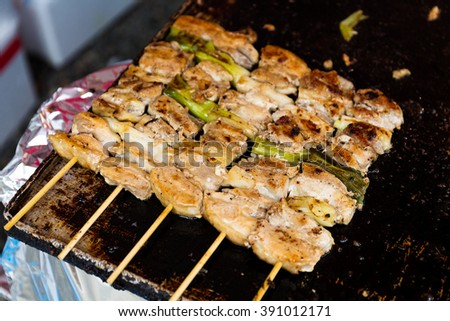 Chicken meat skewers - stock photo