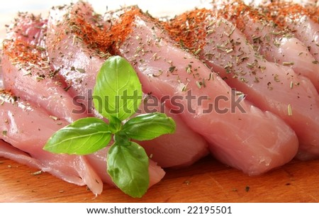 chicken meat slices prepared for cooking - stock photo