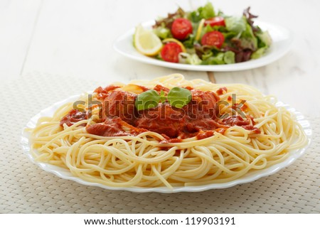 chicken meatballs with spaghetti - stock photo