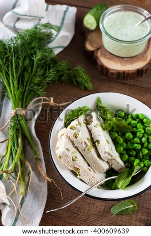 Chicken Meatloaf with Green Peas - stock photo