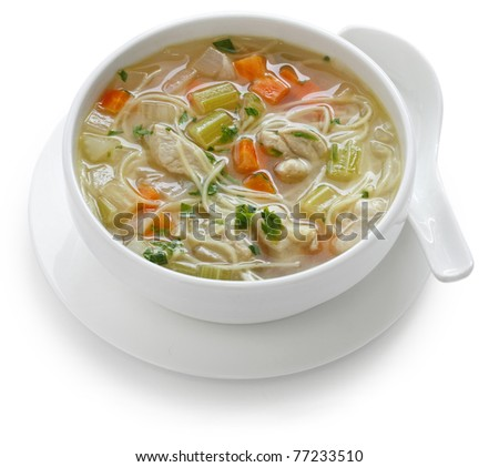 chicken noodle soup , cold and flu fighting soup - stock photo