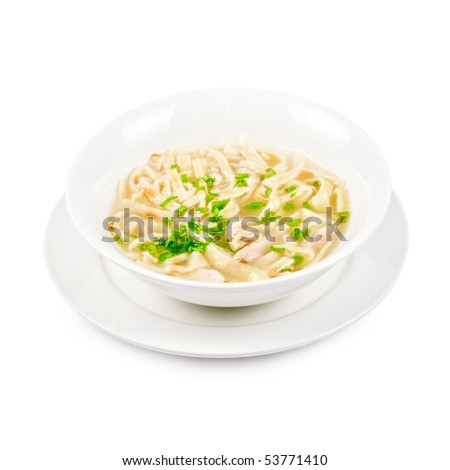 Chicken noodle soup isolated on a white