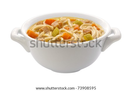 Chicken Noodle Soup isolated with a clipping path - stock photo