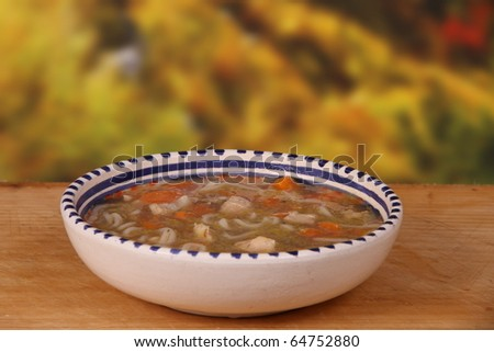 chicken noodle soup with carrot and onion - stock photo