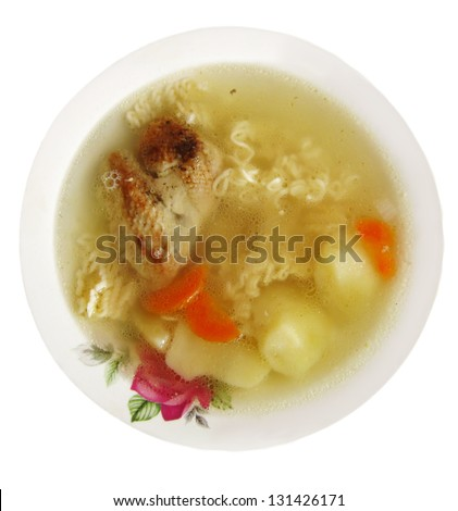 Chicken noodles soup. - stock photo