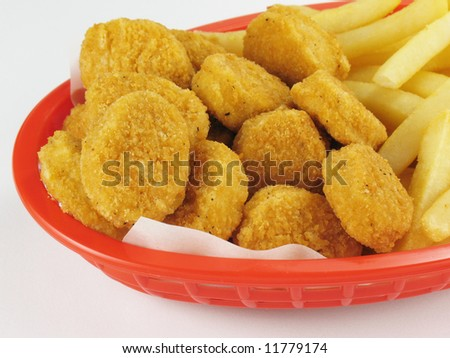 Chicken Nuggets & French Fries - stock photo