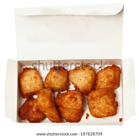 Chicken Nuggets in A Fast Food Restaurant To Go Box - stock photo