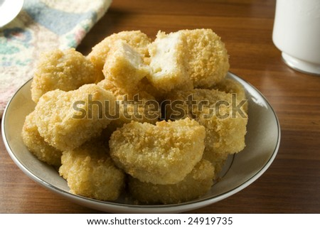 Chicken nuggets on dish ready to serve or eat