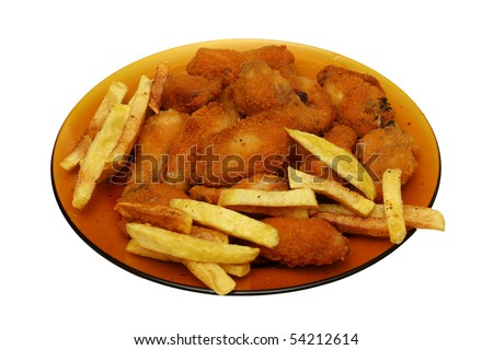chicken nuggets with fries - stock photo