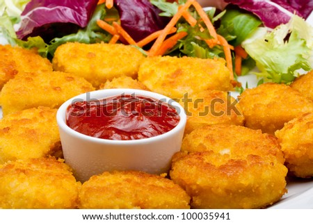 chicken nuggets with tomato ketchup - stock photo