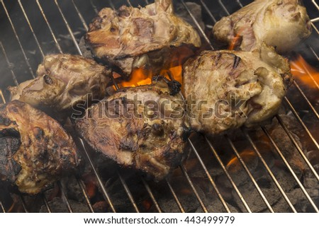 Chicken On Charcoal Grill - stock photo