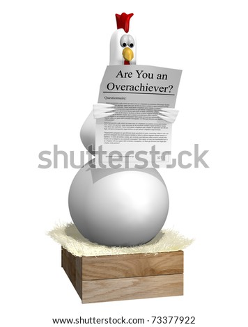 Chicken on large egg - stock photo