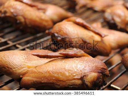 Chicken on the grill close up, traditional cuisine, the food industry.
