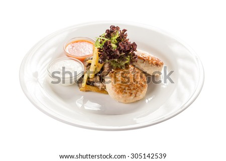 Chicken patties with french fries and sauce isolated on white background - stock photo