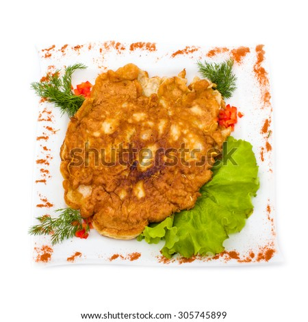 chicken pie isolated on a white background