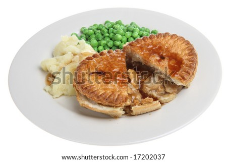 Chicken pie with mashed potato, peas and gravy