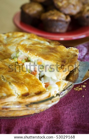 Chicken Pot Pie Being Served - stock photo
