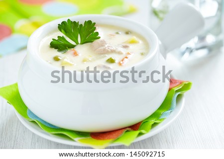 chicken pot soup - stock photo