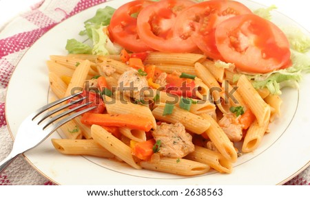 chicken primevera with penne, mixed peppers, and parmesan sauce