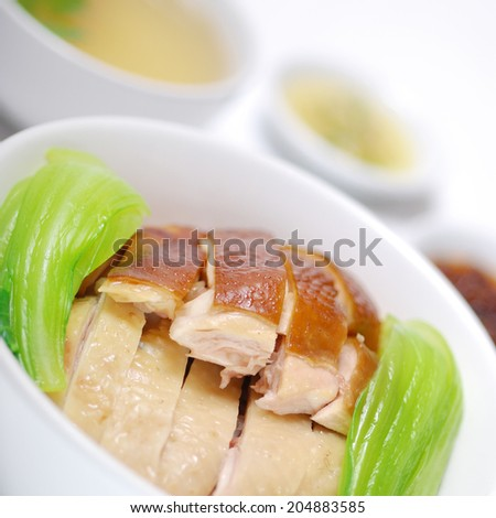 Chicken rice in 2 style steamed chicken - stock photo