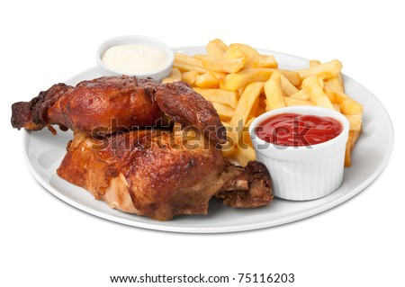 Chicken roasted with fries - stock photo
