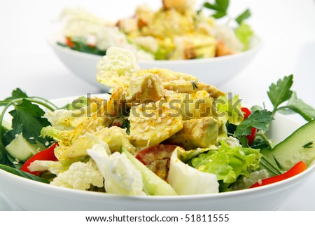Chicken salad with curry