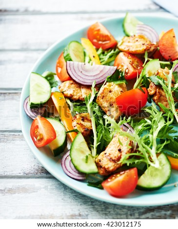 Chicken Salad with Endive and Cherry Tomatoes - stock photo
