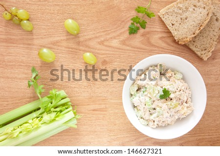 Chicken Salad with Grapes, Almonds and Celery - stock photo