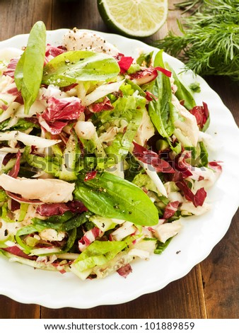 Chicken salad with radicchio, lettuce and spinach. Shallow dof. - stock photo