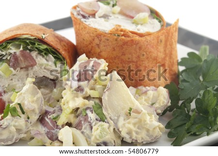 Chicken salad wrap with potato salad. Shallow DOF. Focus on potato salad.