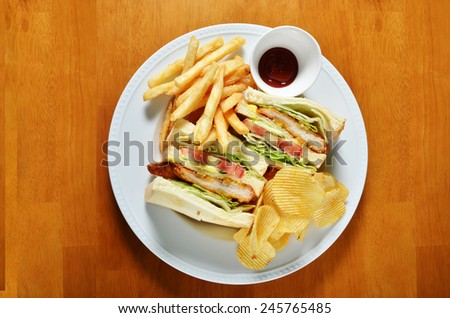 Chicken sandwich combo  - stock photo