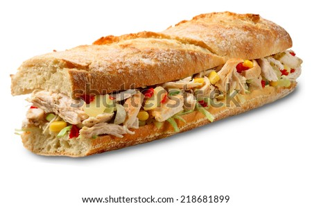Chicken sandwich on crusty French bread baguette with corn and pineapple. Isolated on white with drop shadow. - stock photo