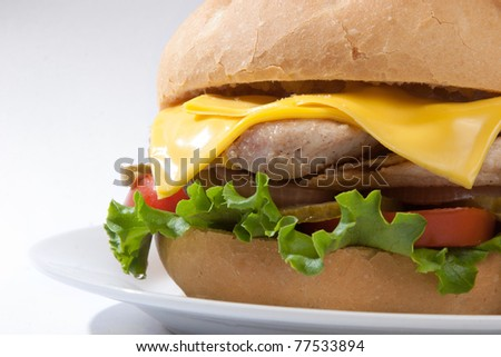 Chicken sandwich over white background