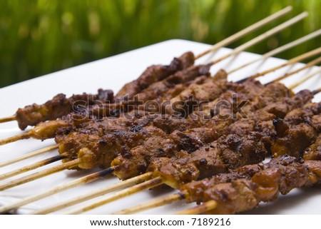 chicken satay skewer close up - stock photo