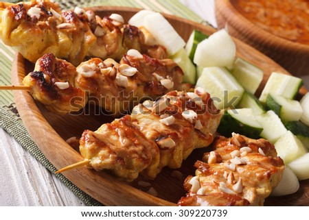 Chicken satay with peanut sauce and salad on a plate macro. horizontal