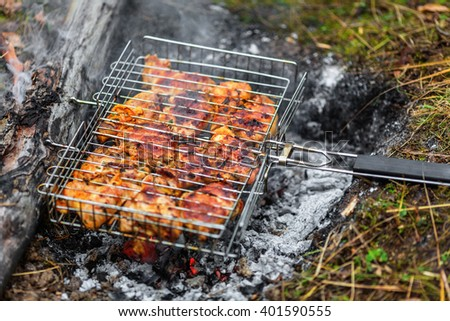 Chicken shashlik on grill being roasted over charcoal